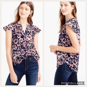 J Crew Silk Flutter Sleeve Top - Hibiscus Print